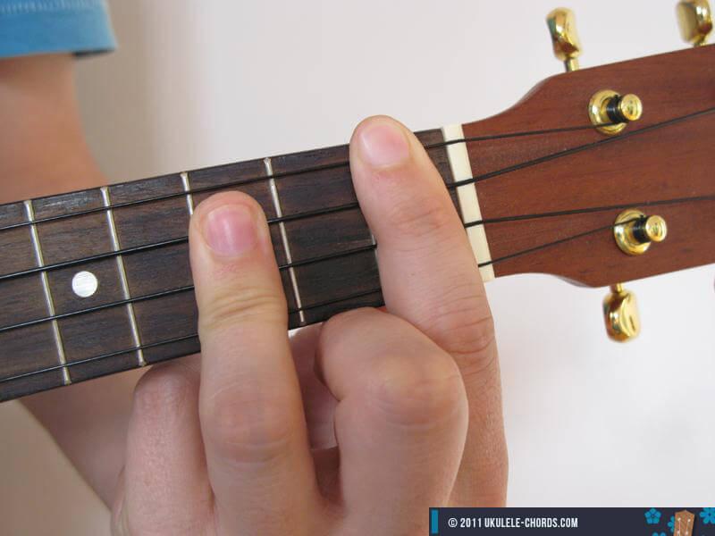 Fmaj7 Ukulele Chord (Position #4) - D-Tuning