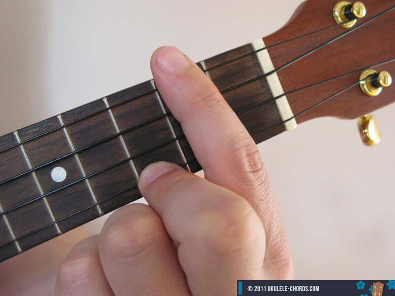 Bb7 (A#7) Ukulele Chord - Baritone